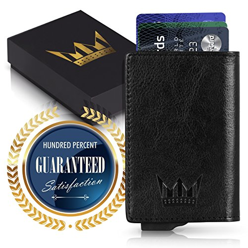 RFID Wallet & Card Holder, Aluminum & PU Slim Wallet, With One Click All 6 Cards Slide Out, In A Nice Gift Box,