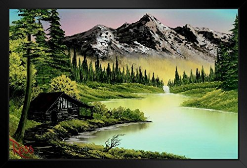 Bob Ross Mountain Retreat Art Print Painting Framed Poster 14x20 inch