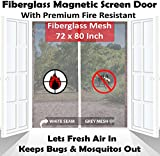 Premium 72''x80'' White Magnetic Screen Door for French Door with Grey Fire-Resistant Fiberglass Mesh | Bug & Mosquito Proof, Kids & Pets Friendly | Fit Doors up to 70'' x 79''