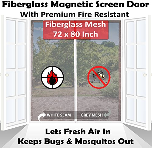 Premium 72''x80'' White Magnetic Screen Door for French Door with Grey Fire-Resistant Fiberglass Mesh | Bug & Mosquito Proof, Kids & Pets Friendly | Fit Doors up to 70'' x 79'' by Mag-Connexion