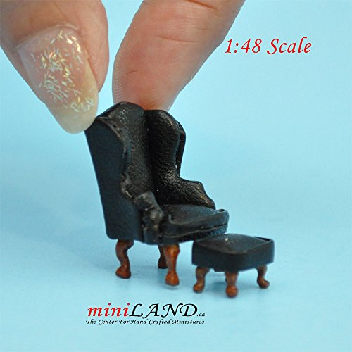 """1:48 1/4"""" quarter scale Queen Ann armchair and stool set 2pcs Top quality BLACK/BLUE leather -  miniLAND - The Center For Hand Crafted Miniatures., QY2315 BK"""