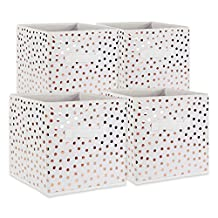 """DII Foldable Small Dots Fabric Storage Containers for Cube Organizers, Toys, Cloths or Knick Knacks (Set of 4), 11 x 11 x 11"""", Copper"""