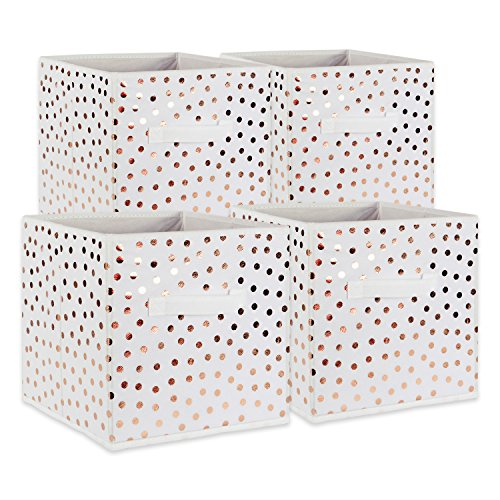 DII Fabric Storage Bins for Nursery, Offices, & Home Organization, Containers Are Made To Fit Standard Cube Organizers (11x11x11) White with Copper Dots - Set of 4