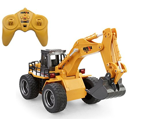 Huina 2.4Ghz Radio Control Alloy 6 Channel 4 Wheel Excavator Remote Control High Simulation Truck