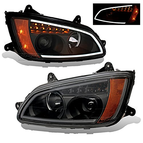 (SPPC Projector Plank Style Black Amber Reflector Headlight Assembly Set for Kenworth T660-(Pair) Driver Left and Passenger Right Side Replacement Headlamp)