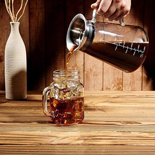 Cafetera hermética para infusión en frío, cafetera helada, tetera ...