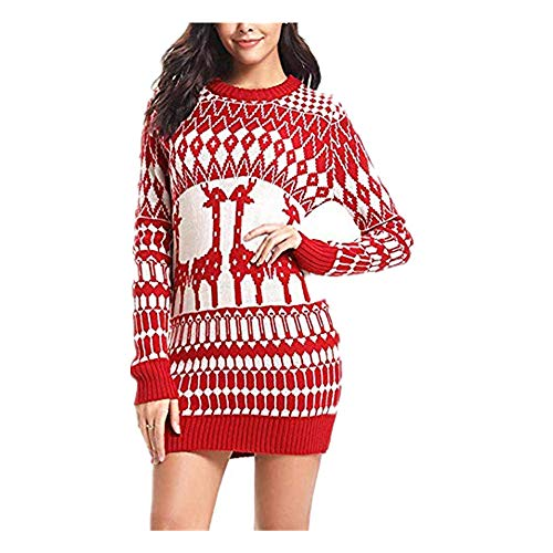 Women Christmas Deers Boho Maxi Knit Sweater Long Cocktail Party Floral Dress Red