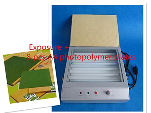 Cyana good quality UV Exposure Unit for Hot Foil Pad Printing PCB + 8 pcs A4 photopolymer plates
