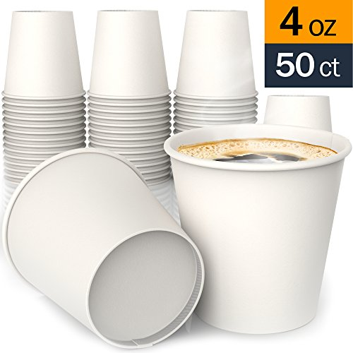 4 oz All-Purpose White Paper Cups (50 ct) - hot and Cold Beverage Cup for Water Tea Coffee - Ideal Bath Cup ()