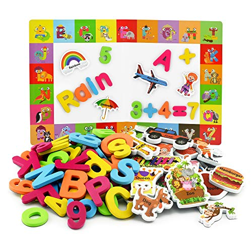Alphabet Magnets + Matching A-Z Objects / ABC Magnets, Numbers and Board + E-Book with 35 Learning & Spelling Games Included | Magnetic Letters and Numbers for Toddlers (Number Magnetic Set)