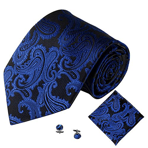 Rawdah Square Link Classic Tie Cuff Jacquard 3PCS C Pocket Handkerchief Party Tie Men qW1BxdqZ