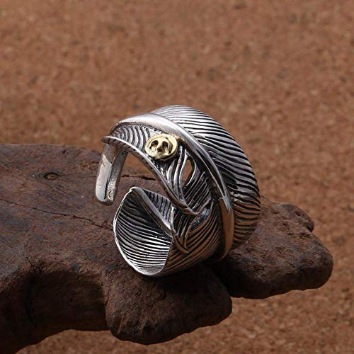 Ring Adjustable S925 Sterling Silver Fashion Vintage Flying Eagle Feather Ring Mens Birthday Jewelry Accessory for Ladies (Color : -, Size : -)