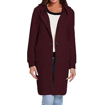 Fancylande Abrigo Mujer Larga Trench Coat Chic - Chaqueta Abrigo, Mujer Primavera otoño Casual Chaqueta a Capucha Mango Mujeres Loose Cardigan, Rojo Intenso ...