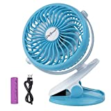 Battery Operated Clip on Fan for Baby Stroller Car Back Seat Laptop Travel Outdoors Camping ,Small Personal Fan Mini Desk Table Fan Portable Hand Held Powered by Rechargeable 2600mAh Battery or USB Image