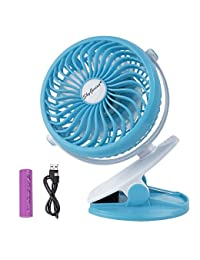 SkyGenius Battery Operated Clip on Mini Desk Fan Rechargeable 2600mAh Battery or USB powered, Blue