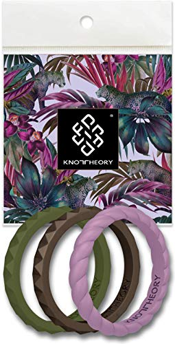 Stackable Silicone Wedding Rings for Women - Slim Thin Bands in Jungle Green, Purple Sky, Chocolate Bronze - Passion 3-Pack Size 9 - Expert Color Combo - Ultra Comfortable Elegant Gift For Wife