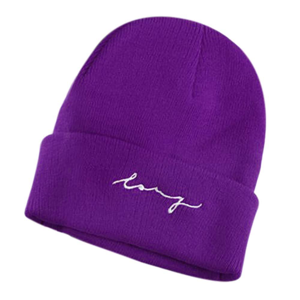 Unisex Beanie Mütze Strickmütze Warm Ski Wintermütze Herren Damen Gestrickt Beaniemütze Kappe Hut Cap mit Briefdruck Weiß Rot Lila Schwarz. Saihui ❇❇ Fashion Warme Mütze❇