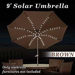 Fuerte camello 9'solar patio paraguas al aire libre jardín manivela de inclinación persiana 80LED luz marrón marrón 9ft