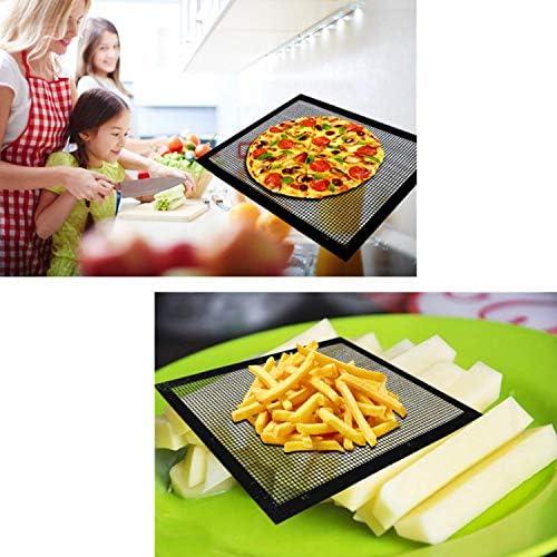 3pcs Tapis Grille Barbecue,Siebwinn Anti-AdhéRent RéUtilisable Barbecue Grill Mat Tapis de Cuisson Pour Micro-Ondes Charbon 28 X 42cm