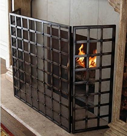 Antique Fireplace Screen >> Amazon Com Gothic Iron Nailhead Fireplace Screen Home Kitchen
