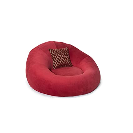 Seatcraft 1971 Bella Fabric Home Theater Seat Foam Round Lounge Cuddle Chair,  Sofa, Red