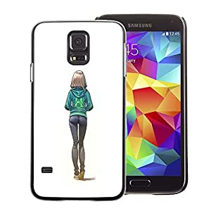A-type Arte & diseño plástico duro Fundas Cover Cubre Hard Case Cover para Samsung Galaxy S5 (Sexy Butt Girl White College Woman)