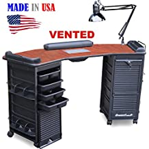 M603 Vented Manicure Nail Table Double Lockable Cabinet Cherry Top by Dina Meri