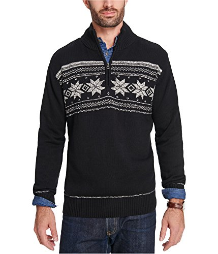 - Weatherproof Mens Snowflake Knit Pullover Sweater Black L
