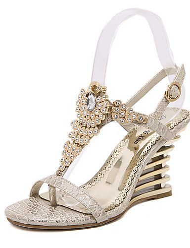 ShangYi Womens Shoes Synthetic Wedge Heel Open Toe Sandals Party & Evening / Dress Pink / Almond Pink