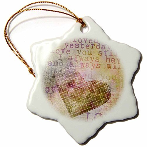 (Christmas Ornament Andrea Haase Inspirational Typography - Love heart typography quote yesterday still always - Snowflake Porcelain)
