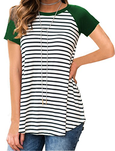 Ladies T-shirt Green Raglan (Halife Raglan Sleeve Striped Tunic Shirts for Women to Wear with Leggings Green L)