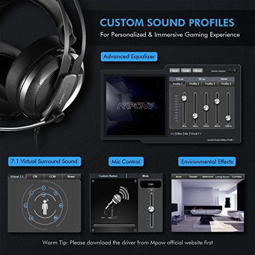 Mpow EG4 Gaming Headset, Virtual 7 1 Surround Sound Gaming