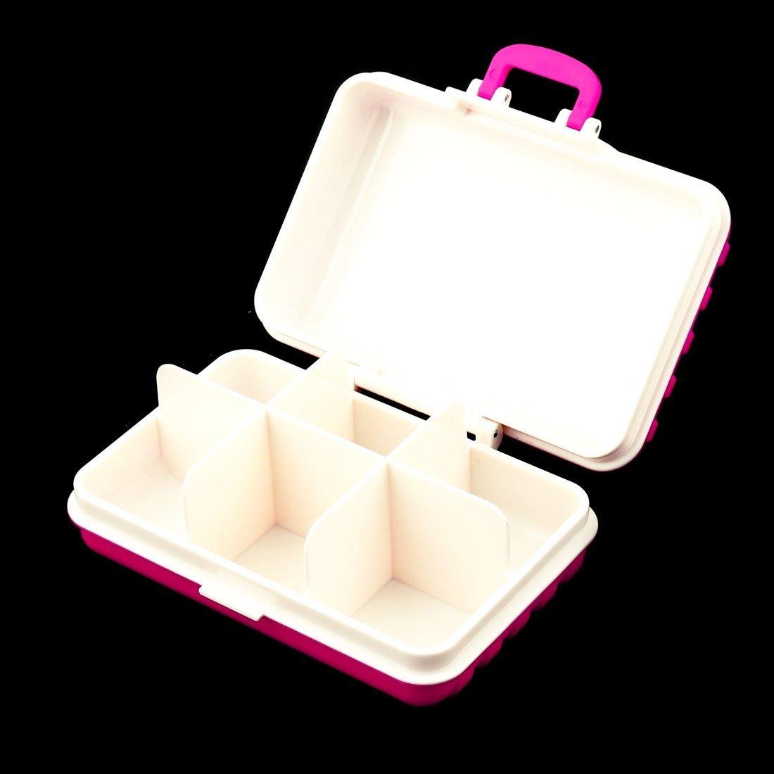 Amazon.com: eDealMax plástico Maleta Diseño 6 ranuras Medicina cápsula de la píldora Caja de almacenamiento Organizador Fucsia: Health & Personal Care