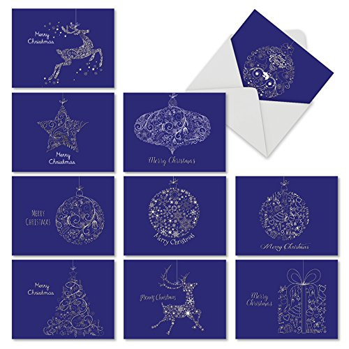 10 Assorted 'Holiday Impressions' Merry Christmas Cards 4 x 5.12 inch, Greeting Cards with Swirl Designs and Seasonal Shapes on a Navy Background, Featuring Reindeer, Presents, Ornaments M2941XSG (Silver Card Christmas Background)
