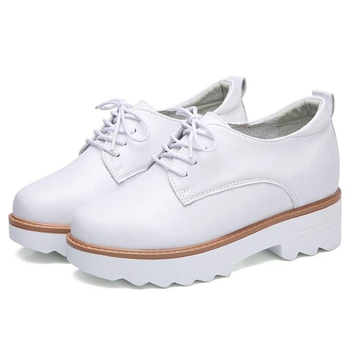 Plataforma De Las Mujeres CuñAs Zapatillas De Deporte Zapatos De Gamuza De Cerdo CóModas SeñOras Ocasionales con Cordones Mocasines Blancos Zapatos De Boda: ...