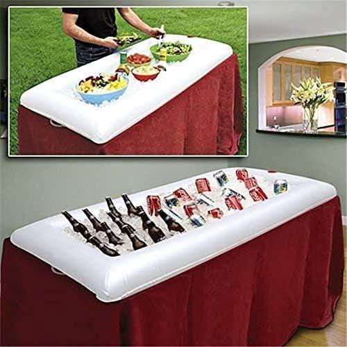 BRANDNEWS Floating Inflatable Ice Drink Buffet Bar, Kühler Drink Buffethalter mit Ablassschraube, für Picknick Camping und Pool Party
