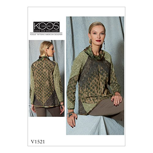 Vogue Patterns V1521A50 Misses' Cowl-Neck Front-Fringe Top Sewing Pattern, 6-8-10-12-14, Orange