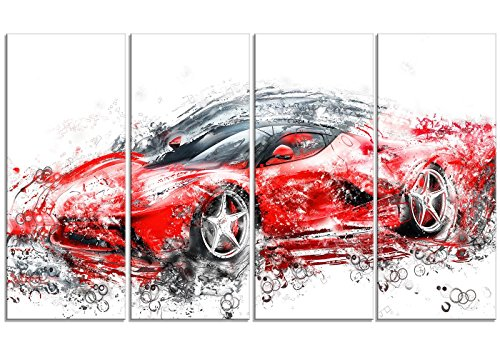"Digital Art PT2636-271 ""Sleek Red Sports Car"" Canvas Art Print"