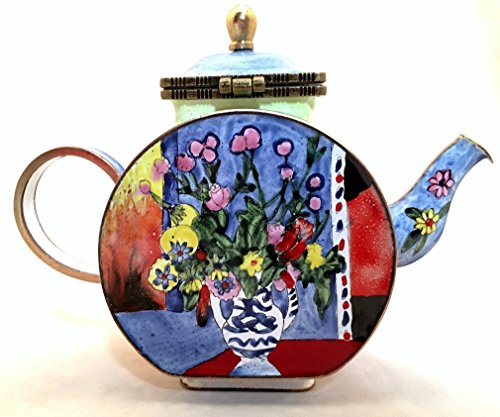 Kelvin Chen Enameled Miniature Tea Pot - Matisse Vase with Flowers