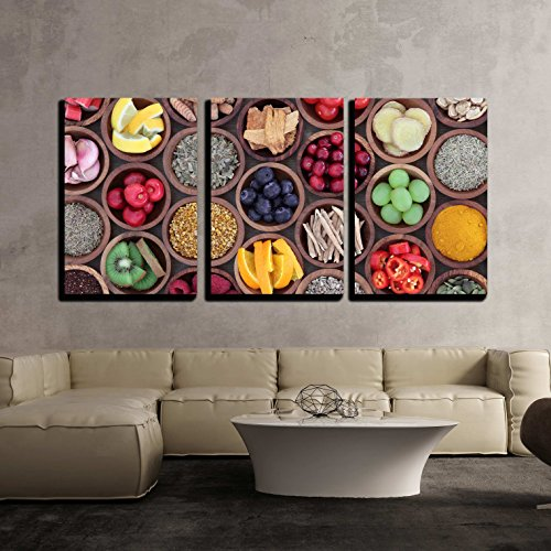 wall26 - 3 Piece Canvas Wall Art - Health and Super Food to Boost Immune System in Wooden Bowls - Modern Home Decor Stretched and Framed Ready to Hang - 24