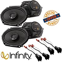 (2Pairs) Infinity KAPPA 682.11cf Peak Power Handling 300w 6x8/5x7 Two Way Car Audio w/ Metra 72-5600 Ford Speaker Harness 1998-UP