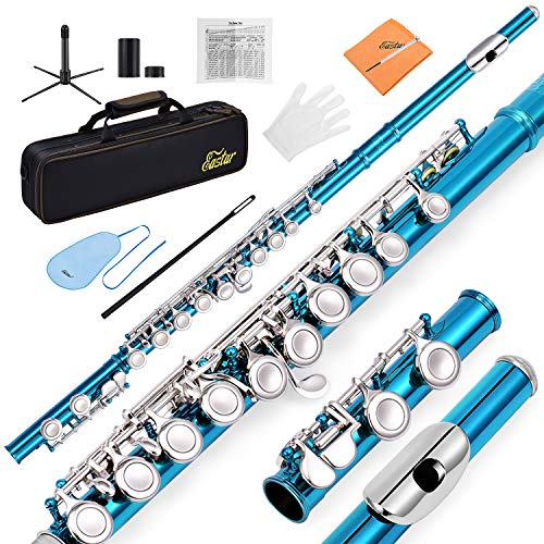 Eastar EFL-1SB 16 Keys C Flute Close Hole Instrument Nickel Plated Sky Blue Beginner Flute Set With Fingering Chart,Hard Case, Cleaning Rod, Stand, Strap, Gloves