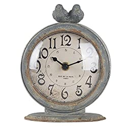 NIKKY HOME Shabby Chic Pewter Round Quartz Table Clock with 2 Birds, 4.75 x 2.5 x 6.12 Slate Grey