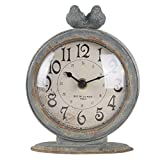 """NIKKY HOME Shabby Chic Pewter Round Quartz Table Clock with 2 Birds, 4.75"""" x 2.5"""" x 6.12"""" Slate Grey"""