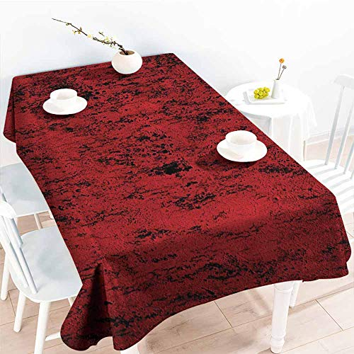 Tablecloth,Red and Black Pillow Sham Artistic Abstract Pattern with Grungy Distressed Look and in Vintage Style,Table Cover for Kitchen Dinning Tabletop Decoratio,W60X102L Decorative Standard Printed