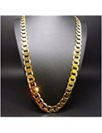 Gold Chain Cuban Necklace 9MM Miami Link w/ real solid...