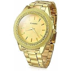Wdnba Men's Gold Watch Diamond Dial Fashion Gold Steel Analog Quartz Watches