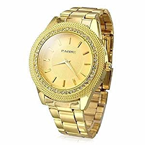 Mens Gold Watches Diamond Dial Gold Steel Analog Quartz Wrist Watch