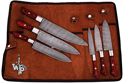 WP-1071 Custom Handmade Damascus Kitchen/Chef Knife Set 6/Piece Pocket Case Chef Knife Roll Bag By World Points (Red Wood)