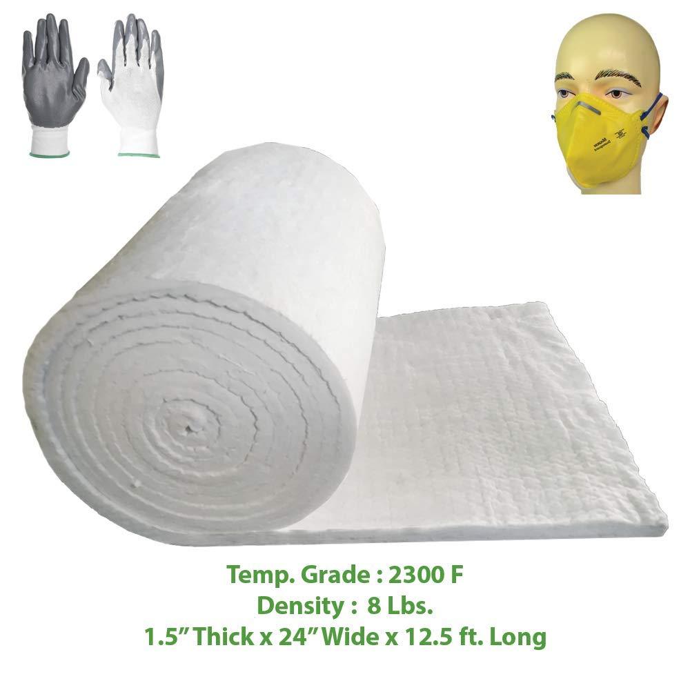 Ceramic Fiber Blanket (2300F, 8# Density) (1.5'' x 24'' x 12.5') Ovens, Kilns, Furnaces, Glass Work and Chimney Insulation